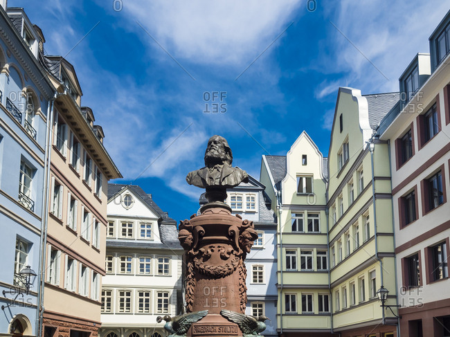 Germany- Hesse- Frankfurt- Old town- reconstructions of houses- bust of Friedrich Stoltze