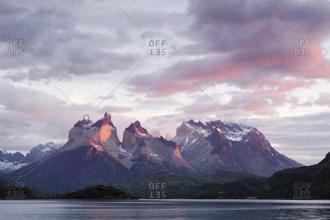 South America- Chile- Patagonia- Torres del Paine National Park- Cuernos del Paine from Lake Pehoe at sunrise