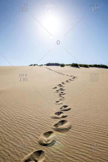 Germany- Schleswig-Holstein- Sylt- dune- sand with footmarks