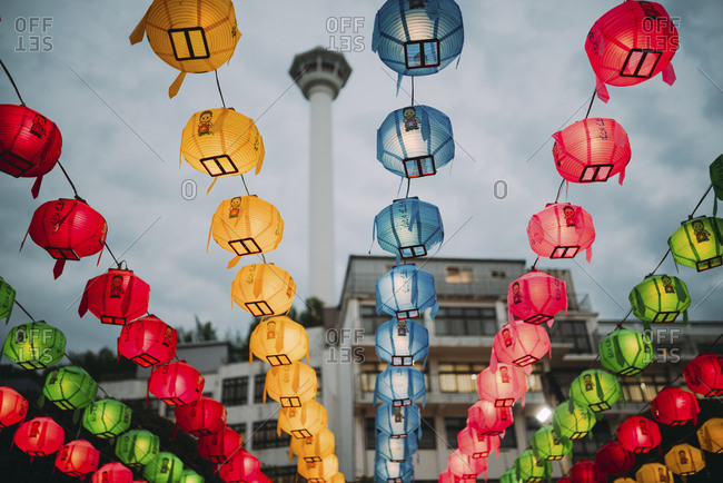 South Korea- Seoul- colorful lanterns- tower in the background