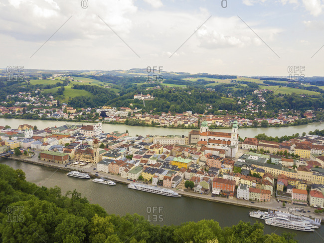 Germany- Bavaria- Passau- city of three rivers- Aerial view of Danube and Inn river