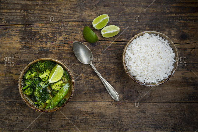 Green thai curry with broccoli- pak choi- snow peas- baby spinach- lime and bowl of rice