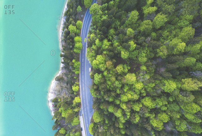Aerial view of road at Sylvenstein Dam