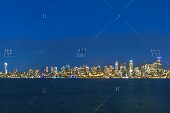 USA- Washington State- Seattle- Skyline at blue hour