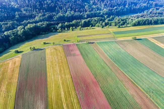Germany- Baden-Wuerttemberg- Rems-Murr-Kreis- Swabian Franconian forest- Aerial view of fields