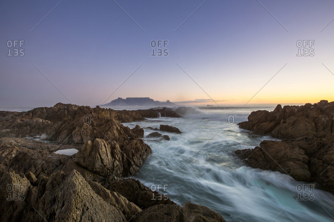 Africa- South Africa- Cape Town- View from beach to Table Mountain in the evening