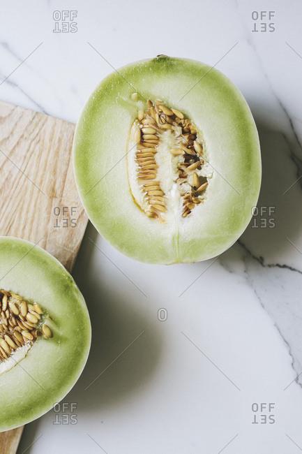Cut honeydew melon