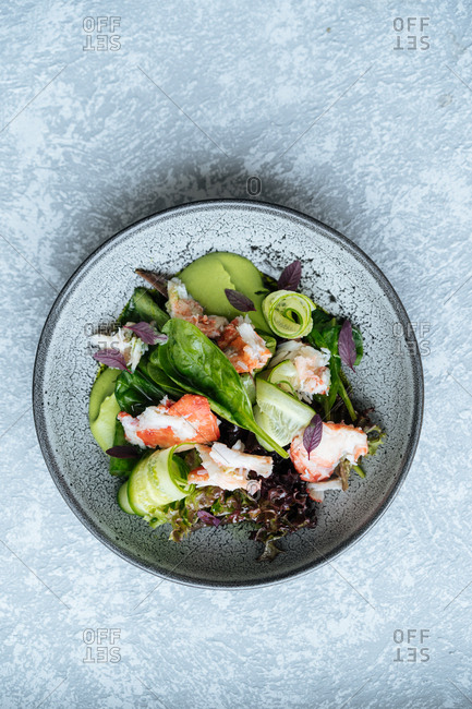 Overhead view of raw Nordic salad