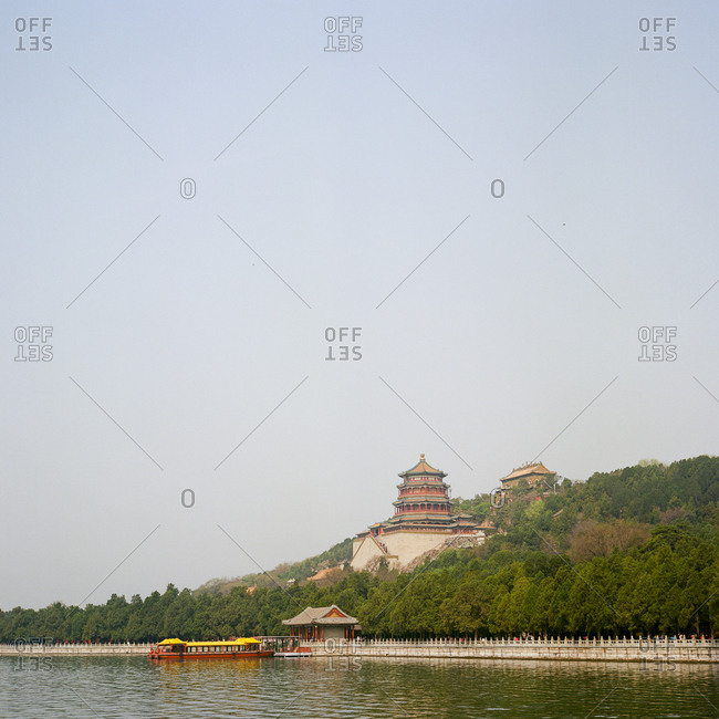 A view of the Summer Palace over water in Beijing, China