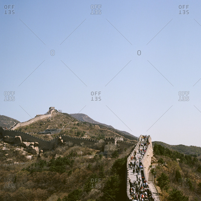 Visitors walking along the great wall of China