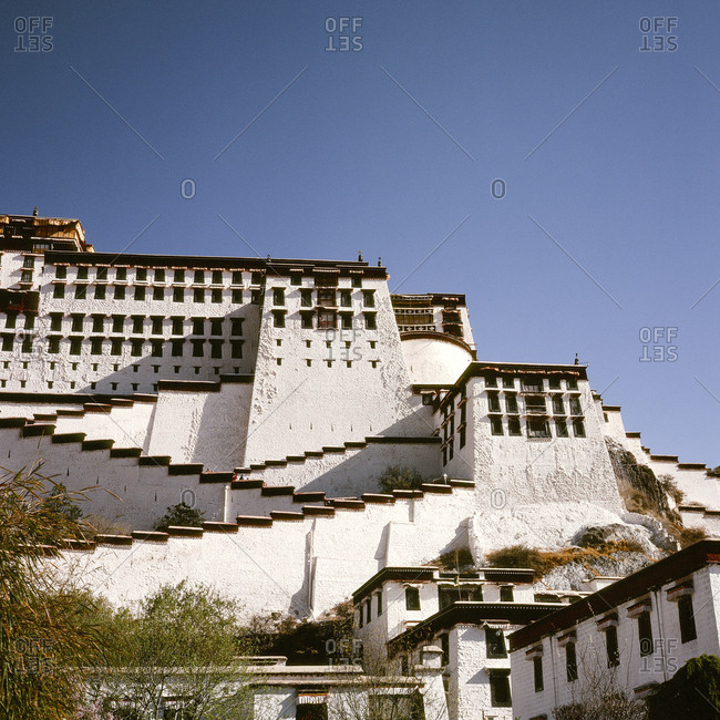 Low angle view of section of Potala Palace in Tibet