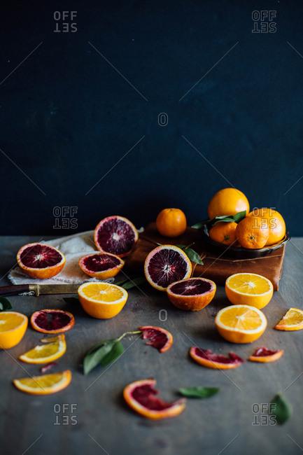 Sliced blood orange and oranges