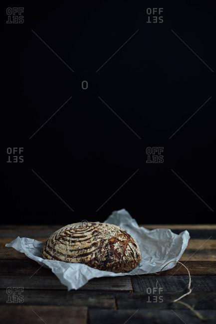 Fresh bread in parchment paper