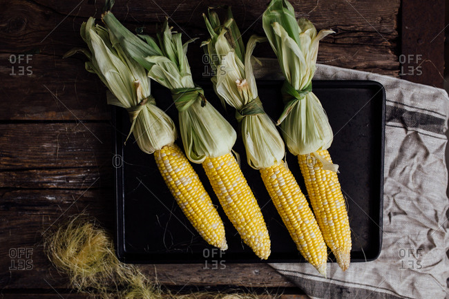 Corn with husks tied up