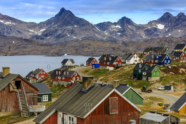 Angmagssalik, Greenland. - September 8, 2017: Colorful buildings in the Inuit Village of Tasiilaq