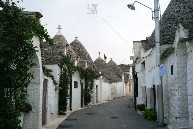 Trulli houses line the streets of the Rione Monti district