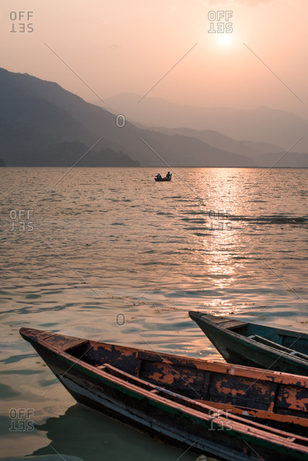 Lake Pokhara in the evening