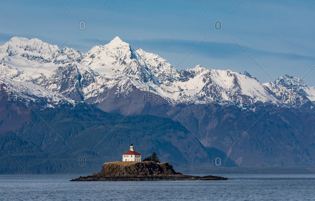 The Eldred Rock Lighthouse, a historic octagonal lighthouse adjacent to the Lynn Canal