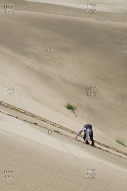 Hiker sliding down the Kobuk Sand Dunes in Kobuk Valley National Park