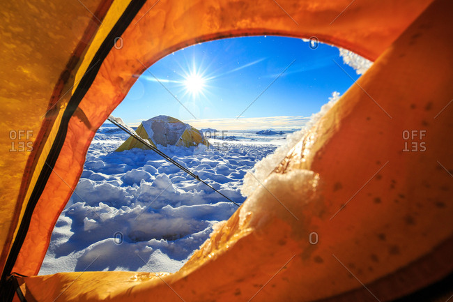 View from inside a tent with the intense sun of the Antarctic summer