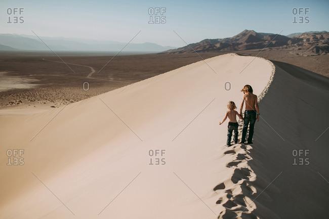 Boys walking in Death Valley