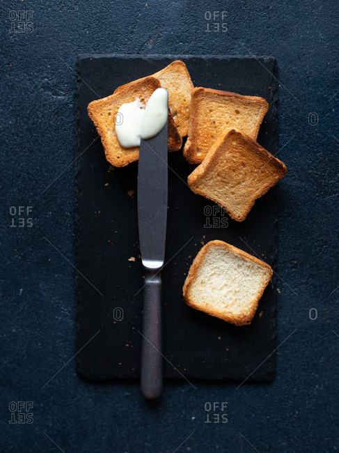 Toasted bread with cream cheese for breakfast