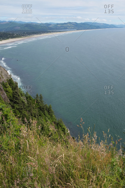 Scenic view of Neahkahnie Beach, Manzanita and the Oregon coastline from above.