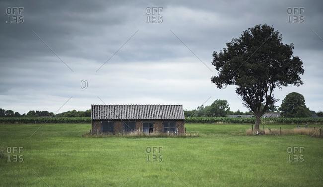 Old building in rural field
