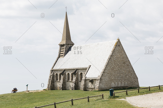Etretat, Normandy, France - May 30, 2018: Church in Les Jardins D'Etretat