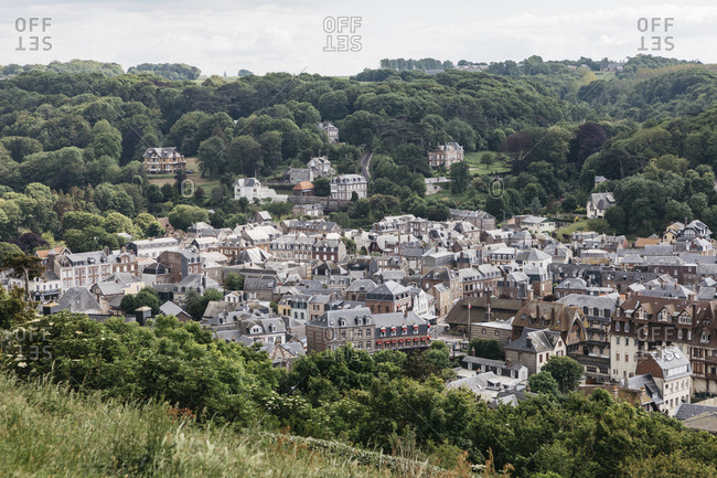 Etretat, Normandy, France - May 30, 2018: View over town, Les Jardins D'Etretat