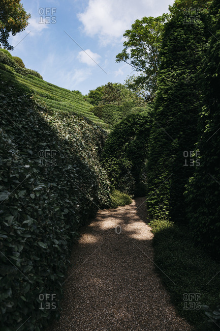 Etretat, Normandy, France - May 30, 2018: Path in garden, Les Jardins D'Etretat