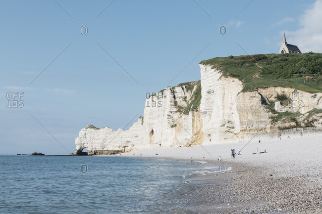 Beach on the coast of Les Jardins D'Etretat, Etretat, Normandy, France