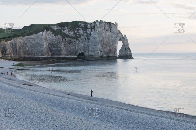Beach along the coast of Les Jardins D'Etretat, Etretat, Normandy, France