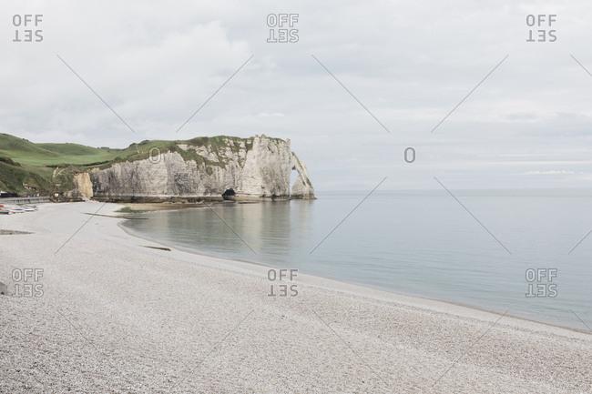 Beach along the coast of Etretat, Normandy, France