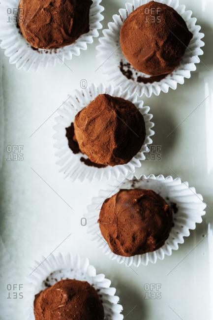 Close up of chocolate truffles