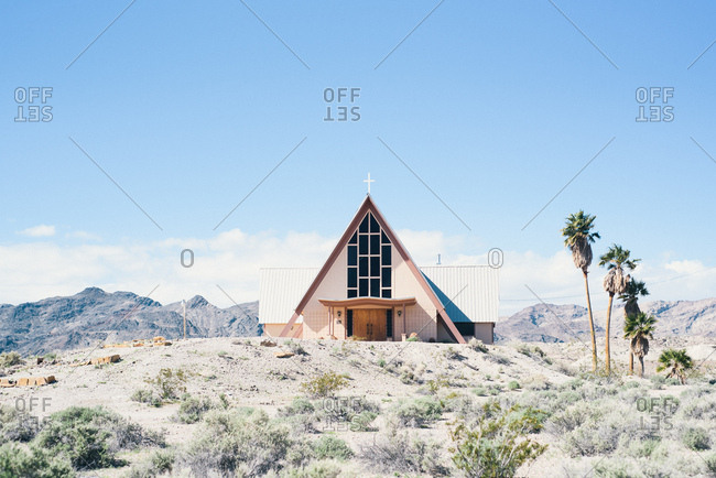 Church on side of road in desert landscape of Death Valley