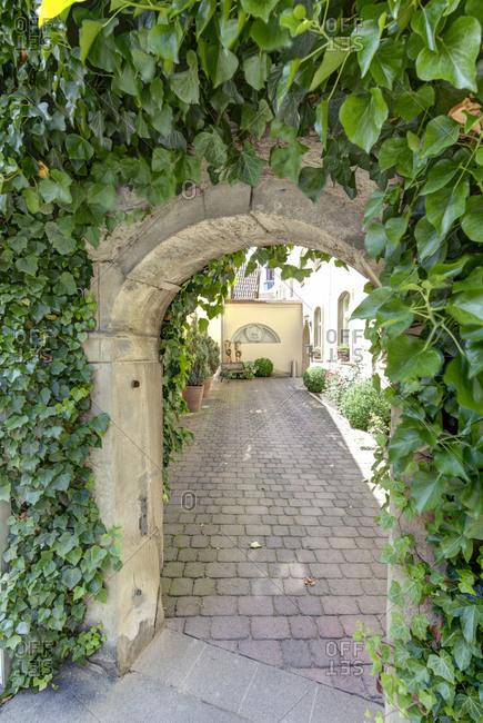 Juliusspital, entrance, passage, Munnerstadt, Lower Franconia, Franconia, Bavaria, Germany, Europe