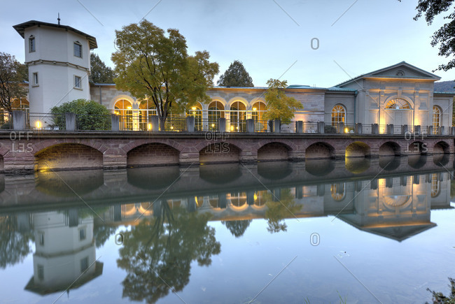 Rose garden, Swiss house bridge, frankish Saale (river), blue hour, Bad Kissingen, Franconia, Bavaria, Germany, Europe