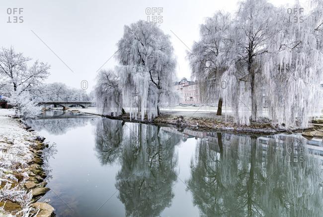 Winter magic, Ludwigsbrucke, frankish Saale (river), hoarfrost, Bad Kissingen, Franconia, Bavaria, Germany, Europe