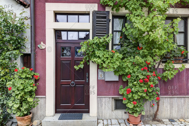 Old front door, wooden door, entrance, Volkach, Franconia, Bavaria, Germany, Europe,
