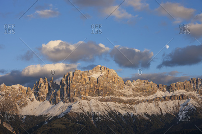 The Rosengarten group (mountain)(3004 m) in the evening light, UNESCO World Heritage, Dolomites, South Tyrol, Italy