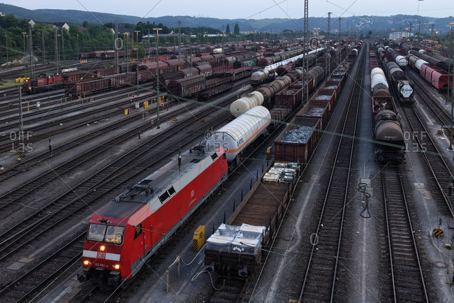 Zugbildungsanlage Hagen in the part of town Vorhalle in the dusk, marshalling yard, freight trains, Hagen, North Rhine-Westphalia, Germany