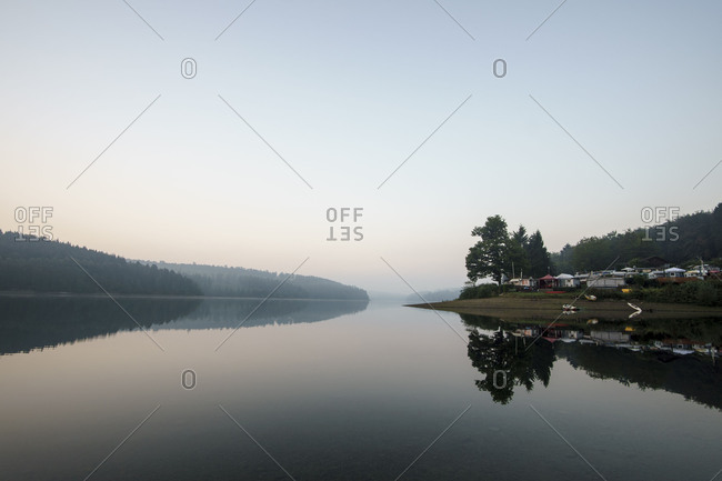 Germany, North Rhine-Westphalia, Sorpe Dam, camping site, morning mood,