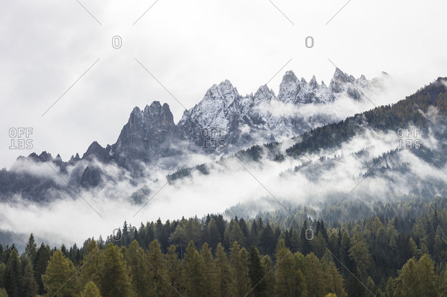 Haunold Group and Haunold (mountain)(2966 m) in the fog, Sexten Dolomites, Innichen / San Candido (market town), South Tyrol, Italy