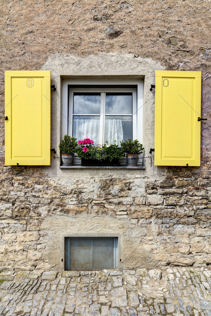 Window, shutter, Volkach, Franconia, Bavaria, Germany, Europe,