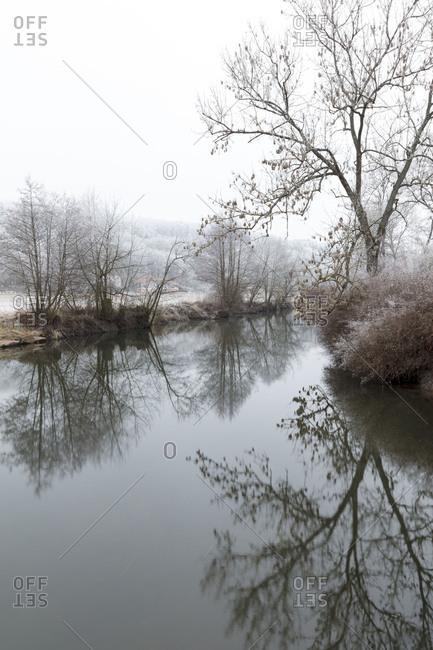 Winter magic, river, River Saale, hoarfrost, cold, fog, Bad Kissingen, Franconia, Bavaria, Germany, Europe