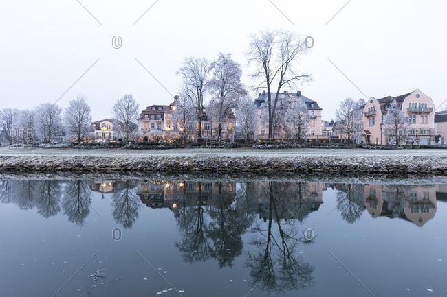May 24, 2017: Winter magic, Balthasar Neumann promenade, rose garden, frankish Saale (river), blue hour, hoarfrost, Bad Kissingen, Franconia, Bavaria, Germany, Europe