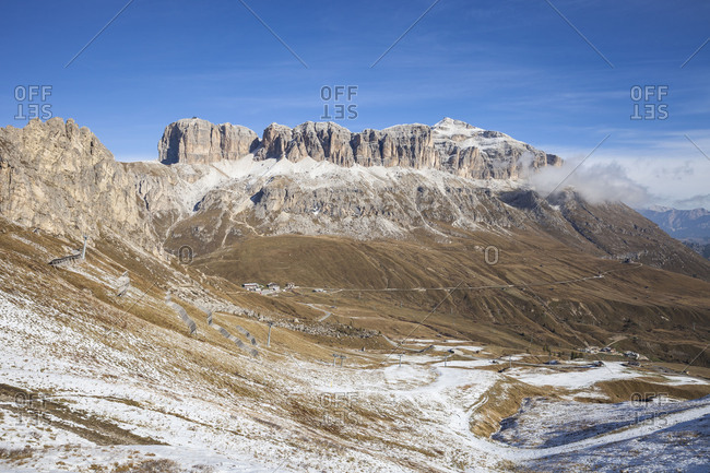 The Sella Group, on the right site the highest summit of the Group of Piz Boe (3152 m), view to the Pordoi (mountain), strada statale 48 delle Dolomiti, Dolomites, Border of South Tirol-Tentino-Belluno, Italy, Europe
