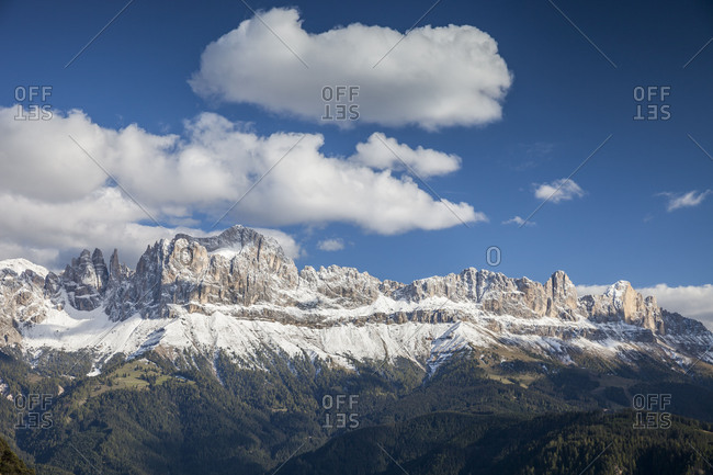 Looking for Rosengarten group (mountain)(3004 m), UNESCO World Heritage, Dolomites, South Tyrol, Italy