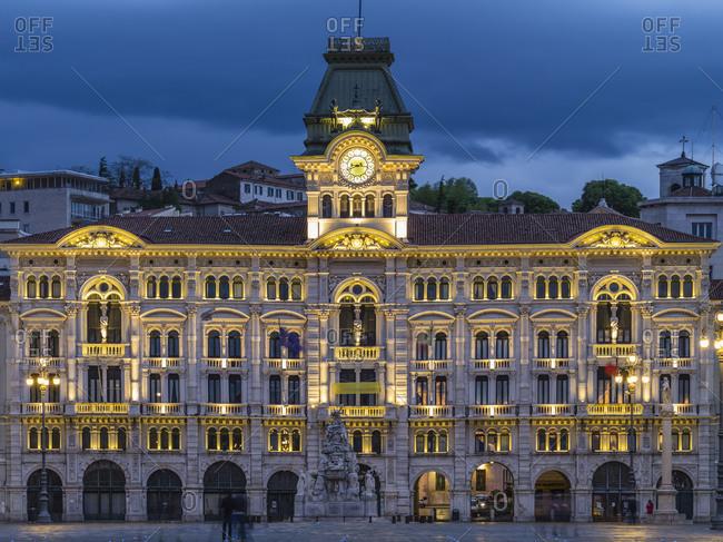 November 30, 2017: Piazza dellUnita dItalia in Trieste at blue hour